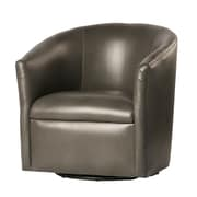 Latitude Run Garland Swivel Barrel Chair; Pewter