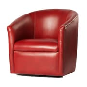 Latitude Run Garland Swivel Barrel Chair; Red