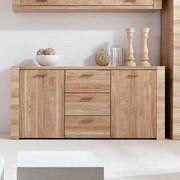 Contemp Style Raflo 3 Drawer 2 Door Accent Cabinet; Light Brown