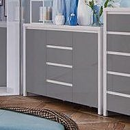 Contemp Style Kaspian 4 Drawer 2 Door Accent Cabinet; Gray