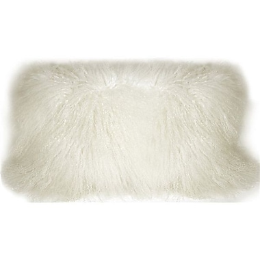 Everly Quinn Reynalda Mongolian Sheepskin Lumbar Pillow; Snow White
