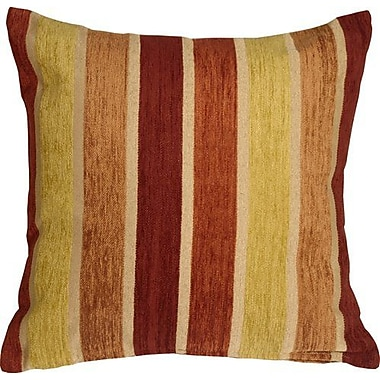 Red Barrel Studio Belington Stripes Chenille Throw Pillow; Yellow/Orange