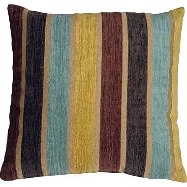 Red Barrel Studio Belington Stripes Chenille Throw Pillow; Yellow/Blue