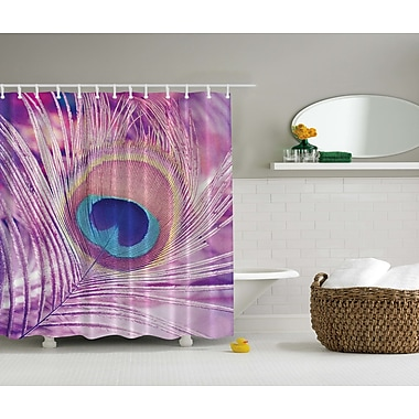 Ambesonne Peacock Feather Print Shower Curtain