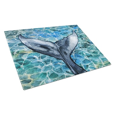 Caroline's Treasures Under Water Glass Whale Tail Cutting Board