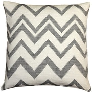 Pillow Decor Lorenzo Zigzag Cotton Throw Pillow; Gray
