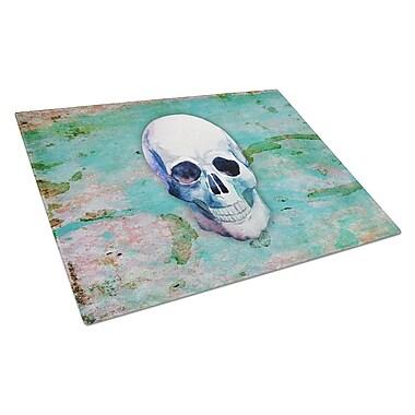 East Urban Home Glass Teal Skull Cutting Board