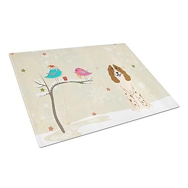 Caroline's Treasures Christmas Presents Glass Russian Spaniel Cutting Board