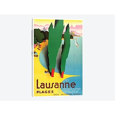East Urban Home 'Lausanne-Ouchy, Switzerland IV' Vintage Advertisement on Canvas