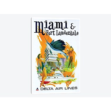 East Urban Home 'Miami & Fort Lauderdale - Delta Airlines' Vintage Advertisement on Canvas