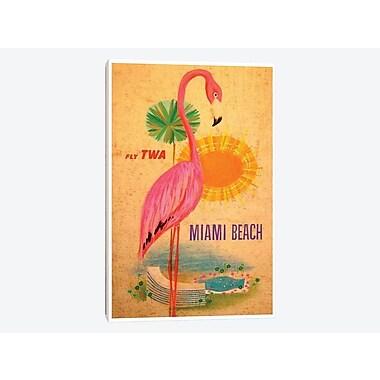 East Urban Home 'Miami Beach - Fly TWA' Vintage Advertisement on Canvas; 12'' H x 8'' W x 0.75'' D
