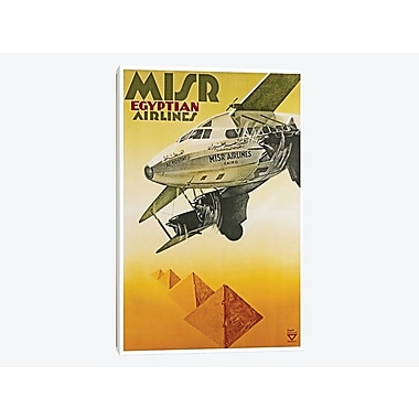 East Urban Home 'Misr Egyptian Airlines' Vintage Advertisement on Canvas; 18'' H x 12'' W x 0.75'' D