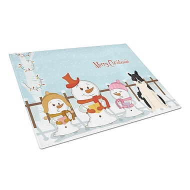 Caroline's Treasures Merry Christmas Carolers Glass Russo-European Laika Spitz Cutting Board
