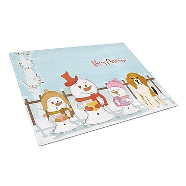 Caroline's Treasures Merry Christmas Carolers Glass Beagle Tricolor Cutting Board