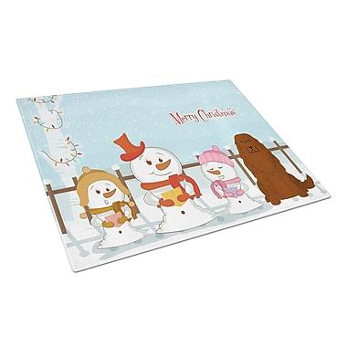 Caroline's Treasures Merry Christmas Carolers Glass Caucasian Shepherd Dog Cutting Board