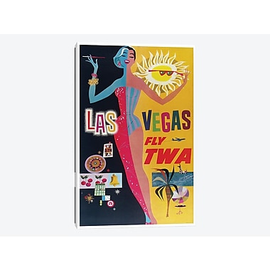 East Urban Home 'Las Vegas - Fly TWA' Vintage Advertisement on Canvas; 18'' H x 12'' W x 0.75'' D
