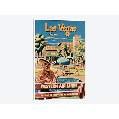 'Las Vegas - Western Airlines, Skyway To Western Playgrounds' Vintage Advertisement on Canvas