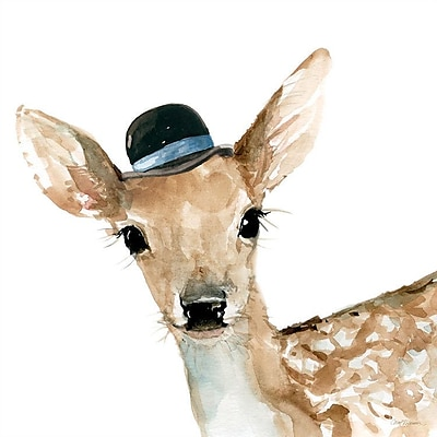 East Urban Home 'Cute Critter: Deer' Painting Print on Canvas; 26'' H x 26'' W x 1.5'' D