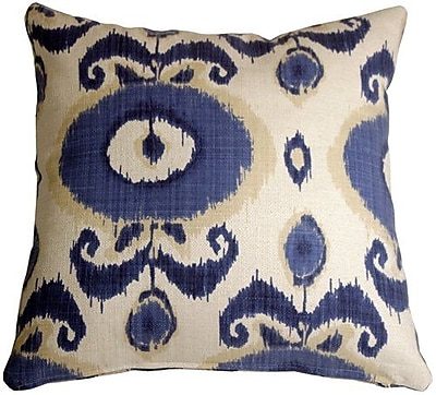 World Menagerie Fortune Ikat Throw Pillow; Blue/White