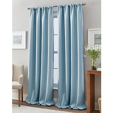 Winston Porter Rocio Striped Light Filtration Thermal Rod Pocket Single Curtain Panel; Aqua