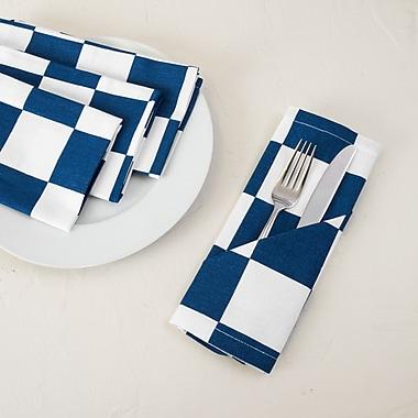 Winston Porter Taliyah 4 Piece Cotton Napkin (Set of 4); Navy Blue/White