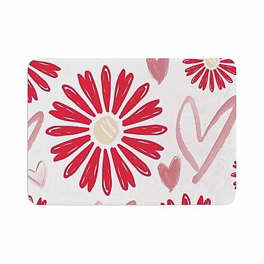 East Urban Home Alison Coxon Hearts and Flowers Love Memory Foam Bath Rug; 0.5'' H x 17'' W x 24'' D