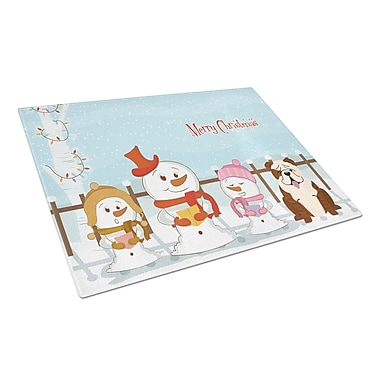 Caroline's Treasures Merry Christmas Carolers Glass English Bulldog Cutting Board; Brindle/White