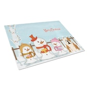 Caroline's Treasures Merry Christmas Carolers Glass English Bulldog Cutting Board; Fawn/White