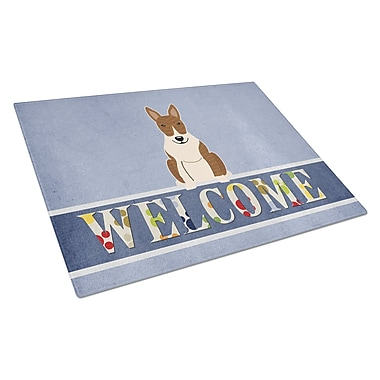 Caroline's Treasures Welcome Dog Glass Bull Terrier Cutting Board; Brindle