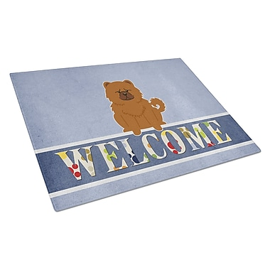 Caroline's Treasures Welcome Dog Glass Chow Chow Cutting Board; Red