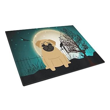 Caroline's Treasures Scary Halloween Glass Pug Cutting Board; Brown