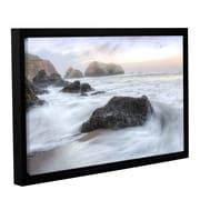 Highland Dunes 'Crescent Beach Waves 2' Framed Photographic Print on Canvas; 32'' H x 48'' W x 2'' D