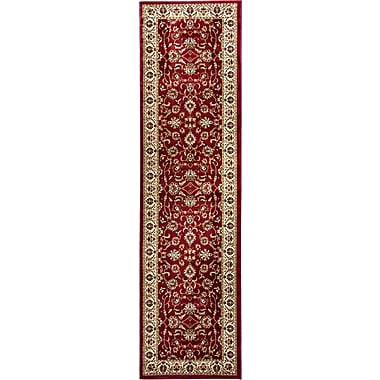 Astoria Grand Belliere Sarouk Border Red Area Rug; Runner 2'3'' x 7'3''