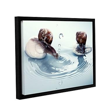 Ebern Designs 'Rain Snail 2' Framed Photographic Print on Canvas; 36'' H x 48'' W x 2'' D