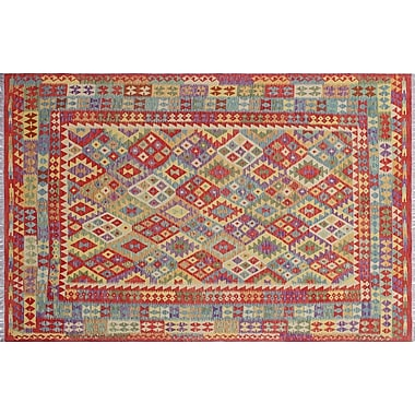 Loon Peak Vallejo Kilim Geometric Hand-Woven Rectangle Red Area Rug
