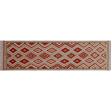 Loon Peak Vallejo Kilim Hand-Woven Gold Wool Area Rug