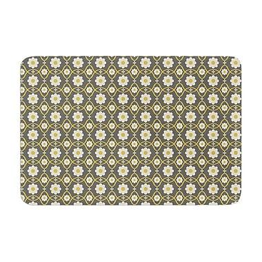 East Urban Home Nandita Singh Floral Pattern Memory Foam Bath Rug; Gray/Brown
