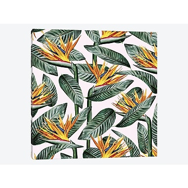 East Urban Home 'Bird of Paradise Leaf' Graphic Art Print on Canvas; 37'' H x 37'' W x 1.5'' D
