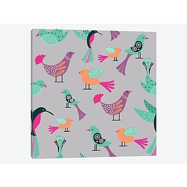East Urban Home 'Birds Pattern' Graphic Art Print on Canvas; 26'' H x 26'' W x 1.5'' D