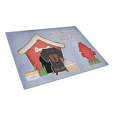 Caroline's Treasures Dog House Glass Dachshund Cutting Board; Black/Tan