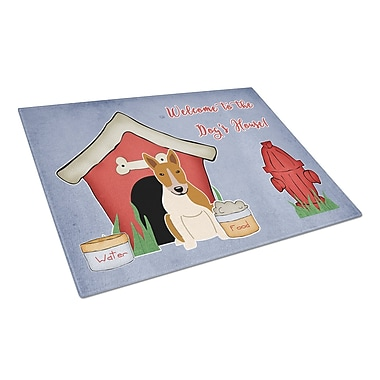 Caroline's Treasures Dog House Glass Bull Terrier Cutting Board; Red/White