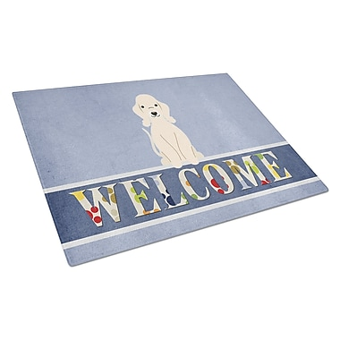 Caroline's Treasures Welcome Dog Glass Bedlington Terrier Cutting Board; Sandy