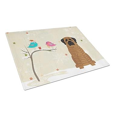 Caroline's Treasures Christmas Presents Glass Mastiff Cutting Board; Brindle