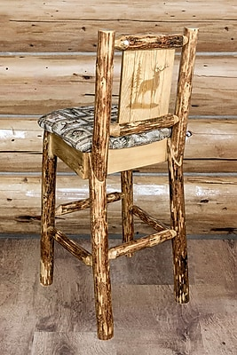 Loon Peak Tungsten Laser Engraved Elk Design 30'' Bar Stool; Wildlife