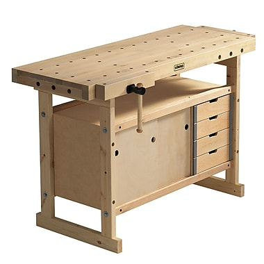 Sjobergs Nordic Plus 1450 Wooden Workbench and Storage Cabinet Combo