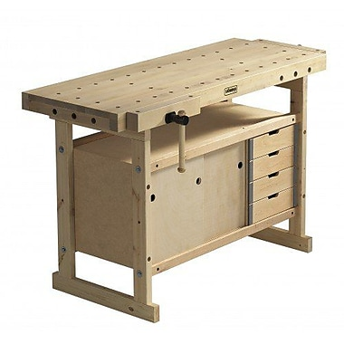 Sjobergs Nordic Plus 1450 Wooden Workbench w/ Storage Cabinet and Accessory Kit