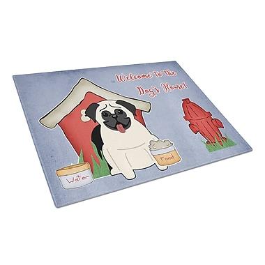 Caroline's Treasures Dog House Glass Pug Cutting Board; Cream