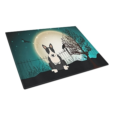 Caroline's Treasures Scary Halloween Glass Bull Terrier Cutting Board; Black/White