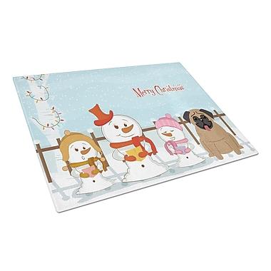 Caroline's Treasures Merry Christmas Carolers Glass Pug Cutting Board; Brown