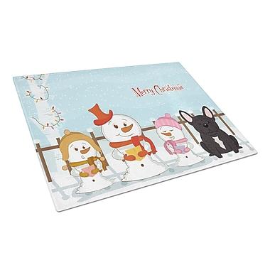 Caroline's Treasures Merry Christmas Carolers Glass French Bulldog Cutting Board; Brindle